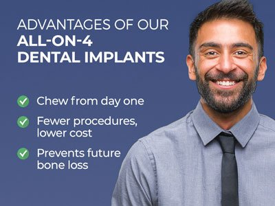 Man smiling next to text. Text reads: Advantages of our All-on-4 Dental Implants. Chew from day one. Fewer procedures, lower cost. Prevents future bone loss.