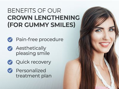 Woman smiling next to text.  Text reads: Benefits of our Crown Lengthening (for Gummy Smiles): Pain-free procedure. Aesthetically pleasing smile. Quick recovery. Personalized treatment plan.