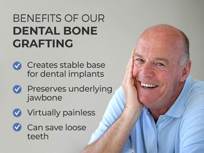 Man smiling next to text. Text reads: Benefits of our Dental Bone Grafting: Creates stable base for dental implants. Preserves underlying jawbone. Virtually painless. Can save loose teeth.