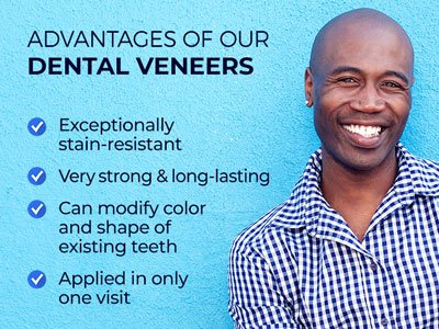 Man smiling next to text. Text reads: Advantages of our dental veneers. Exceptionally stain-resistant. Very strong & long-lasting. Can modify color and shape of existing teeth. Applied in only one visit.