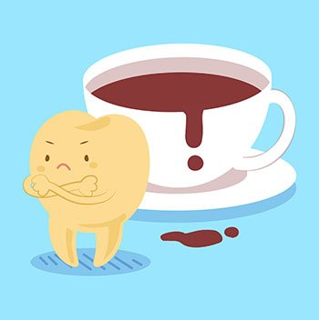 Illustration of sad, brown tooth next to a cup of coffee